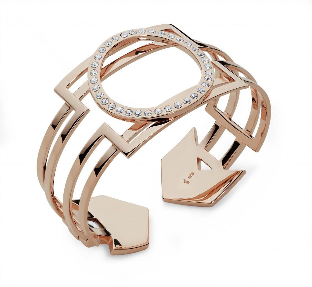 Lucy Q Art Deco Bangle in Rose Gold Vermeil