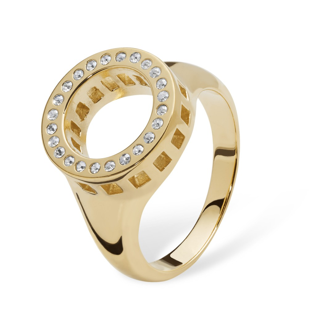 Lucy Q Art Deco Halo Ring in Gold Vermeil