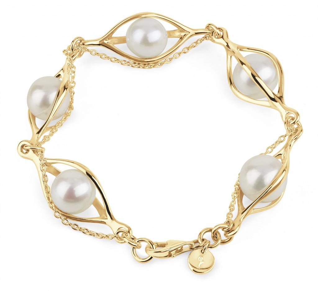 Lucy Q Pearl Hug Bracelet in Gold Vermeil