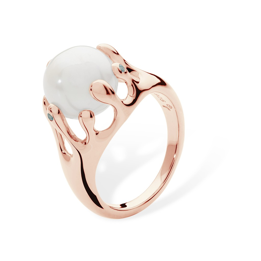 Lucy Q Ring with Pearl in Rose Gold Vermeil