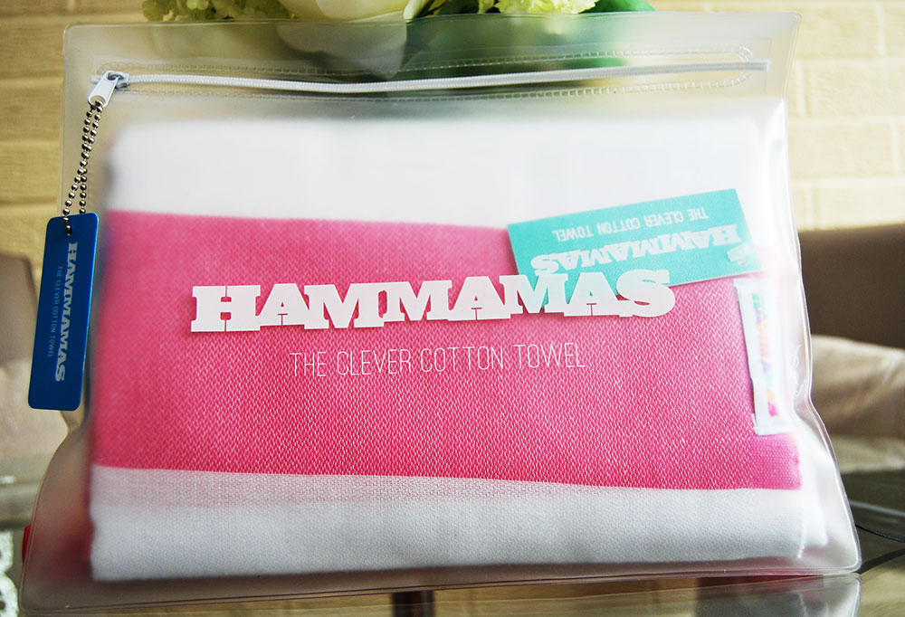 hammas towel pink and white