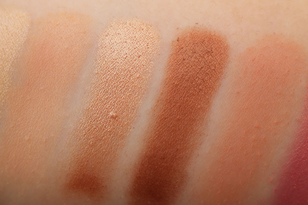 too faced peach swatches