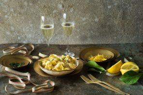 Festive Recipes | Prosecco and creamy lemon sauce salmon tortelloni